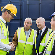 24.04.2017.       <br /> Minister for Housing Simon Coveney visiting the Lord Edward Street site in Limerick, where 81 units for social housing are nearing completion as part of the Limerick Regeneration programme.  57 of which are elderly units (1 and 2 bed apts and 2 bed houses) with the remainder (24) being family homes (3 bed)​. <br /> <br /> Pictured at the event were, Minister for Housing Simon Coveney, Fisherman Quay residents, Andy Mowat and Alan McCarthy with Senator Kieran O'Donnell. Picture: Alan Place.