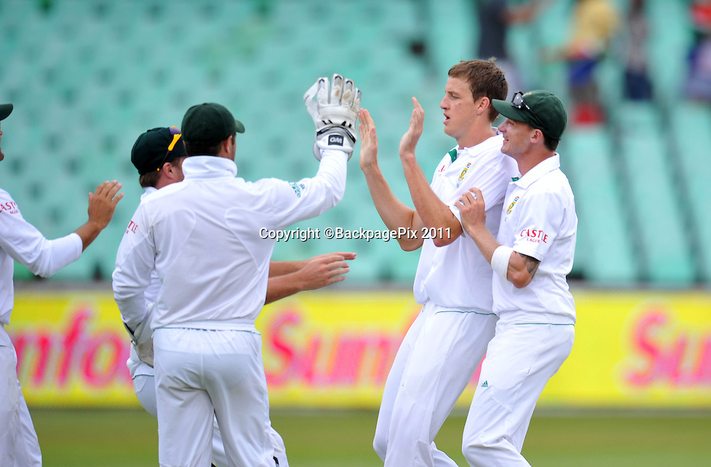 Morne Morkel of South Africa celebrating the wicket of Tharanga Paranavitana , Sri Lanka with Teammates <br /> <br /> &copy; Sabelo Mngoma/BackpagePix