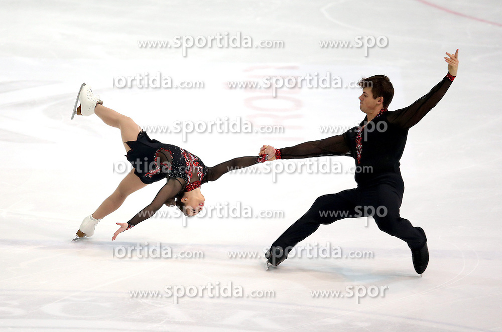 03.12.2015, Dom Sportova, Zagreb, CRO, ISU, Golden Spin of Zagreb, Kurzprogramm, Paare, im Bild Lana Petranovic - Michael Lueck, Croatia // during the 48th Golden Spin of Zagreb 2015 Pairs Short Program of ISU at the Dom Sportova in Zagreb, Croatia on 2015/12/03. EXPA Pictures &copy; 2015, PhotoCredit: EXPA/ Pixsell/ Igor Kralj<br /> <br /> *****ATTENTION - for AUT, SLO, SUI, SWE, ITA, FRA only*****