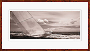 spectacular sepia tone sailing panoramic sailing photograph of former America's Cup yachts racing, featuring Valiant US 24 (1970).