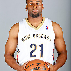 Sep 30, 2013; Metairie, LA, USA; New Orleans Pelicans power forward Arinze Onuaku (21) poses for a portrait at Pelicans Practice Facility. Mandatory Credit: Derick E. Hingle-USA TODAY Sports