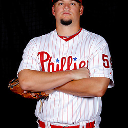 February 22, 2011; Clearwater, FL, USA; Philadelphia Phillies starting pitcher Joe Blanton (56) poses during photo day at Bright House Networks Field. Mandatory Credit: Derick E. Hingle