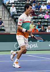 March 10, 2019 - Indian Wells, CA, U.S. - INDIAN WELLS, CA - MARCH 10: Kei Nishikori (JPN) reacts after winning a point in the first set of a match played at the BNP Paribas Open on March 10, 2019 at the Indian Wells Tennis Garden in Indian Wells, CA. (Photo by John Cordes/Icon Sportswire) (Credit Image: © John Cordes/Icon SMI via ZUMA Press)
