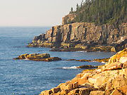 Morning view over Monument Cove and Otter Point, along the coast of Maine, Acadia National Park, near Bar Harbor, Maine, USA.