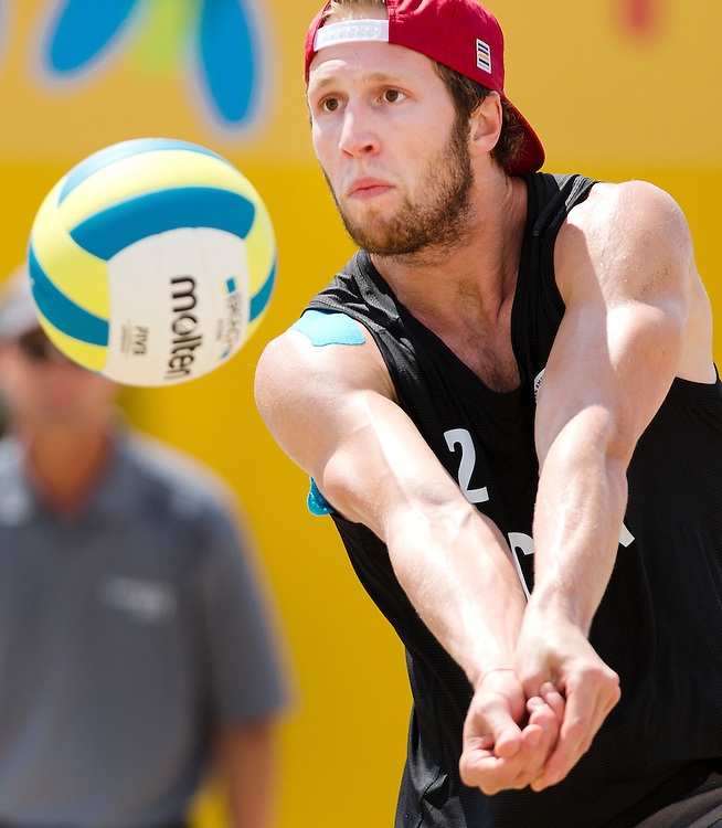 Samuel Schachter and Josh Binstock in their second match of the 2015 Pan Am Games defeat Guatemala 2-0 (21-9, 21-9) in Toronto, Ontario on July 15, 2015.