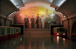 Pyongyang, North Korea, April/May 2004. Subway station in Pyongyang with Social Realist murals/mosaics. (Photo by Teun Voeten) *** Please Use Credit from Credit Field ***