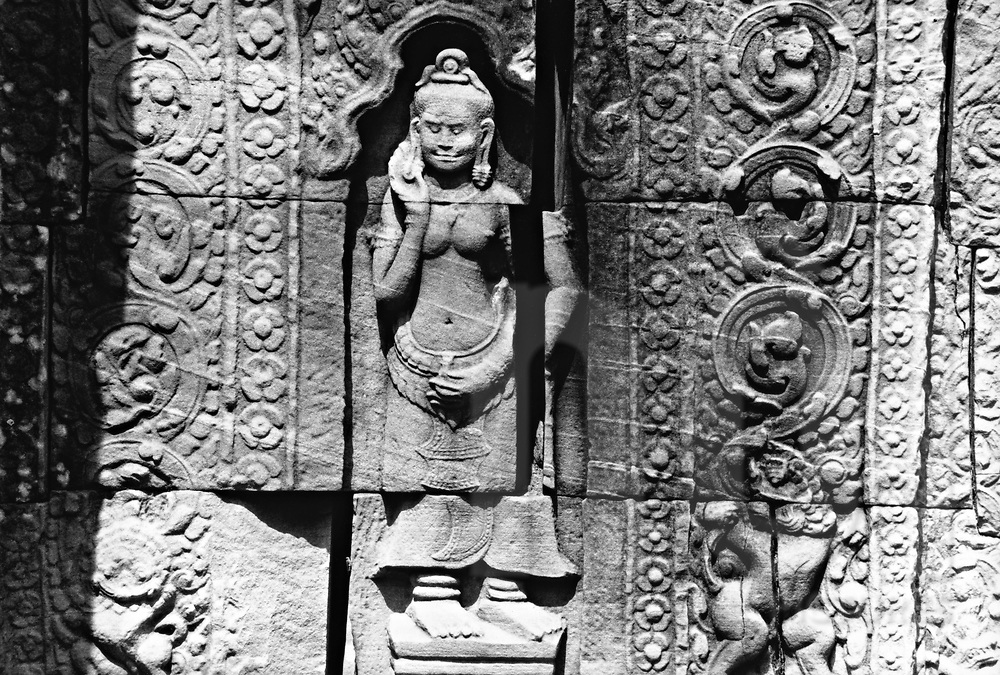 Details of decorating on wall in Angkor wat temple, Angkor Wat, Cambodia, Asia.