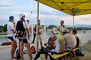 Plovdiv BULGARIA.   Coach, discussing his race plan with his crew.  2012 FISA Junior and Non Olympic Rowing Championships, Plovdiv Rowing Centre  17:41:25  Tuesday  14/08/2012  [Mandatory Credit; Peter Spurrier: Intersport Images]