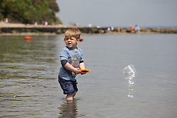 © Licensed to London News Pictures. 23/05/2015. St. Helens, UK. Sam (4), from Hampshire, fishing for crabs and enjoying the warm and sunny weather at The Duver beach in St. Helens on the Isle of Wight today, Friday 23rd May 2015. Today has been warm and sunny in the South of England. Photo credit : Rob Arnold/LNP