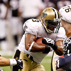 August 21, 2010; New Orleans, LA, USA; New Orleans Saints running back Pierre Thomas (23) runs the ball during the first quarter of a preseason game against the Houston Texans at the Louisiana Superdome. Mandatory Credit: Derick E. Hingle