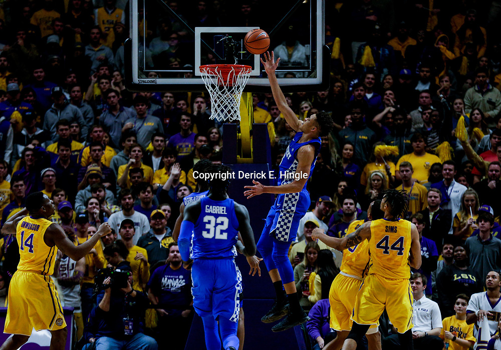 Jan 3, 2018; Baton Rouge, LA, USA; Kentucky Wildcats forward Kevin Knox (5) scores against the LSU Tigers during the second half at the Pete Maravich Assembly Center. Kentucky defeated LSU 74-71.  Mandatory Credit: Derick E. Hingle-USA TODAY Sports