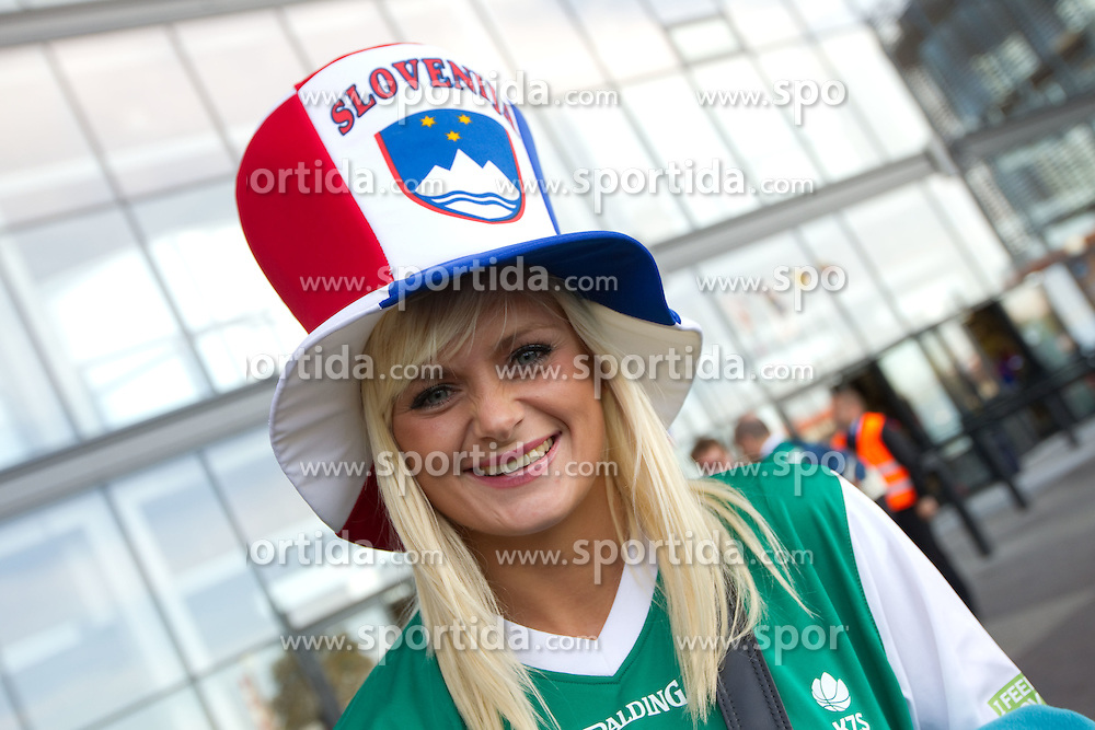 Fans of Slovenia prior to the basketball match between National teams of Russia and Slovenia in Group D of Preliminary Round of Eurobasket Lithuania 2011, on September 5, 2011, in Arena Svyturio, Klaipeda, Lithuania.  (Photo by Vid Ponikvar / Sportida)