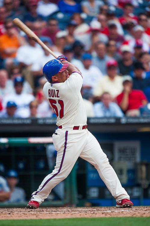 PHILADELPHIA, PA - JUNE 07: Carlos Ruiz #51 of the Philadelphia Phillies bats during the game against the Los Angeles Dodgers at Citizens Bank Park on June 7, 2012 in Philadelphia, Pennsylvania. (Photo by Rob Tringali) *** Local Caption *** Carlos Ruiz