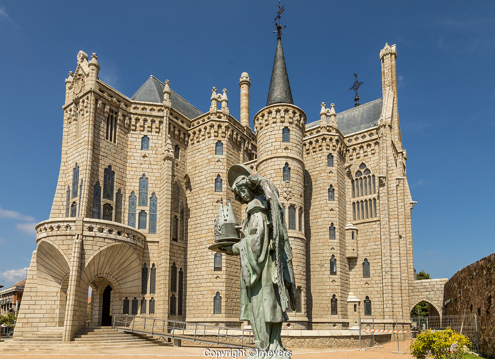 the angle outside the Episcopal Palace, Astorga Spain. Designed in the Calalan Modernisme style by Antoni Gaudi, built between 1889 and 1913.