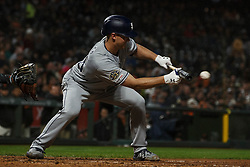 SAN FRANCISCO, CA - APRIL 08: Eric Lauer #46 of the San Diego Padres bunts against the San Francisco Giants during the fifth inning at Oracle Park on April 8, 2019 in San Francisco, California. The San Diego Padres defeated the San Francisco Giants 6-5. (Photo by Jason O. Watson/Getty Images) *** Local Caption *** Eric Lauer