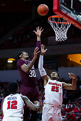 NORMAL, IL - January 07: Tulio Da Silva with a quick lay up between defenders Antonio Reeves and Jaycee Hillsman during a college basketball game between the ISU Redbirds and the University of Missouri State Bears on January 07 2020 at Redbird Arena in Normal, IL. (Photo by Alan Look)