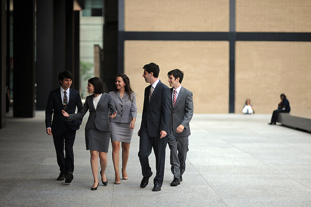 Photo By Michael R. Schmidt-July 12, 2012-Chicago.Graduates of the University of Chicago law school (from Left) Mark Geiger, Marci haarburger, Lily G. Becker, Josh Parker and John B. Wasserman recently won the United States Supreme Court Prediction Competition.