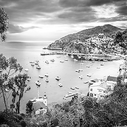 Catalina Island California Black and White Photography with the Pacific Ocean and mountains. Catalina Island is a popular destination off the coast of Southern California in the United States.