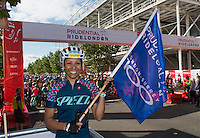 LONDON UK 31ST JULY 2016:  Dame Kelly Holmes, Gold Medal winning athlete. The Prudential RideLondon-Surrey 46 sportive in London 31st July 2016<br /> <br /> Photo: Jon Buckle/Silverhub for Prudential RideLondon<br /> <br /> Prudential RideLondon is the world's greatest festival of cycling, involving 95,000+ cyclists – from Olympic champions to a free family fun ride - riding in events over closed roads in London and Surrey over the weekend of 29th to 31st July 2016. <br /> <br /> See www.PrudentialRideLondon.co.uk for more.<br /> <br /> For further information: media@londonmarathonevents.co.uk