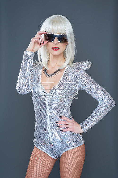 February 22, 2016. Las Vegas, Nevada.  The 22nd Reel Awards and Tribute Artist Convention in Las Vegas. Celebrity lookalikes from all over the world gathered at the Golden Nugget Hotel for the annual event. Pictured is Lady GaGa Lookalike, Christina Shaw.<br /> Copyright John Chapple / www.JohnChapple.com /