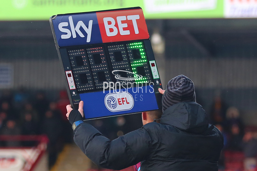 The Sky Bet and EFL Substitution Board during the EFL Sky Bet League 1 match between Scunthorpe United and Shrewsbury Town at Glanford Park, Scunthorpe, England on 17 March 2018. Picture by Mick Atkins.
