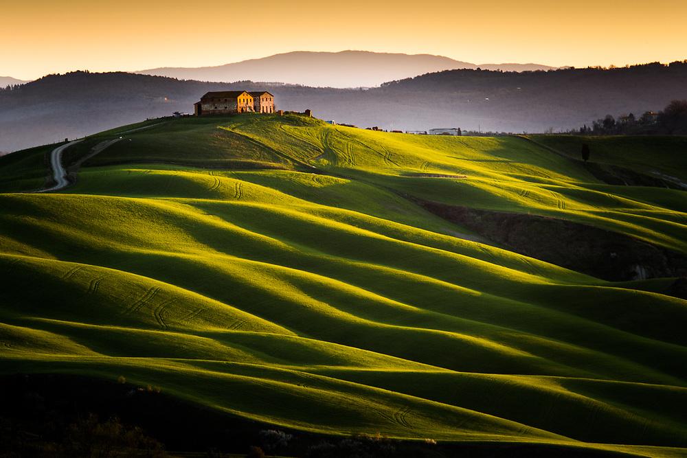 Sunrise on crete Senesi, Tuscany