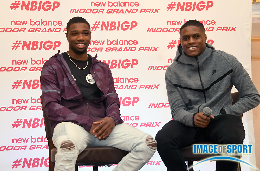 Noah Lyles (left) and Christian Coleman during a  press conference prior to the New Balance Indoor Grand Prix in Boston on Friday, Feb. 9, 2018.