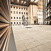 Looking at the massive courtyard where the architecture competes with the art. The National Museum of Art Reina Sofia- Best Modern Art in Spain.
