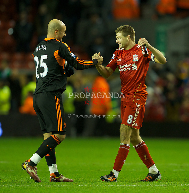 LIVERPOOL, ENGLAND - Wednesday, January 25, 2012: Liverpool's captain Steven Gerrard celebrates with goalkeeper Jose Reina at the final whistle after his side's 3-2 aggregate victory over Manchester City during the Football League Cup Semi-Final 2nd Leg at Anfield. (Pic by David Rawcliffe/Propaganda)