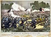 American Civil War 1861-1865: Battle of Gettysburg 1-3 July 1863 which ended Lee's invasion of the North.   Union troops, bayonets fixed, charging Confederate guns. Heaviest casualties than in any other in the war.   Field Artillery