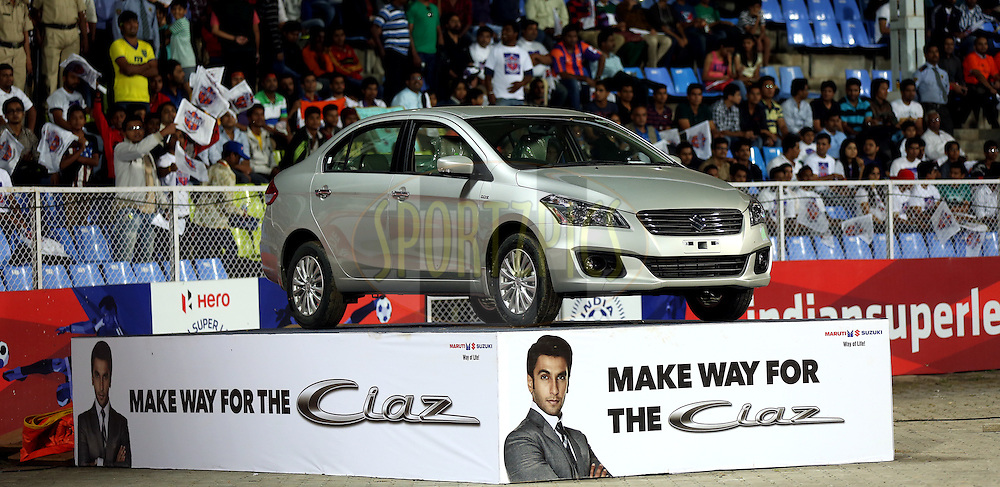 New Maruti suzuki Ciaz car in display during match 17 of the Hero Indian Super League between FC Pune City and Kerala Blasters FC held at the Shree Shiv Chhatrapati Sports Complex Stadium, Pune, India on the 30th October 2014.<br /> <br /> Photo by:  Sandeep Shetty/ ISL/ SPORTZPICS