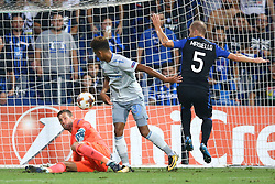 September 14, 2017 - Reggio Emilia, Italy - Maarten Stekelenburg of Everton saving on Andrea Masiello of Atalanta  during the UEFA Europa League Group E football match Atalanta vs Everton at The Stadio Città del Tricolore in Reggio Emilia on September 14, 2017. (Credit Image: © Matteo Ciambelli/NurPhoto via ZUMA Press)