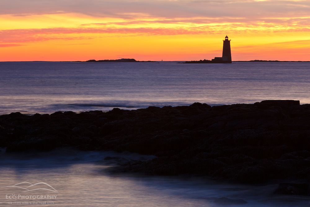 Whaleback Light as seen from Fort Stark State Historic Site in New Castle, New Hampshire.