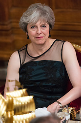 © Licensed to London News Pictures. 13/11/2017. London, UK. British Prime Minister THERESA MAY attends the annual Lord Mayor's Banquet at Guildhall. Photo credit: Ray Tang/LNP