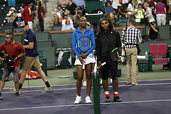 March 12, 2018 - Indian Wells, California, United States Of America - INDIAN WELLS, CA - MARCH 12: Venus Williams and Serena Williams at their match against each other during the BNP Paribas Open at the Indian Wells Tennis Garden on March 12, 2018 in Indian Wells, California...People:  Venus Williams, Serena Williams. (Credit Image: © SMG via ZUMA Wire)