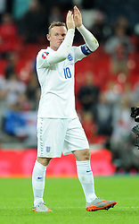Wayne Rooney of England (Manchester United) celebrates breaking the all time goal scoring record for England with his 50th international goal to surpass Bobby Charlton's record. - Mandatory byline: Dougie Allward/JMP - 07966386802 - 08/09/2015 - FOOTBALL - INTERNATIONAL - Wembley Stadium - London - England v Switzerland - European Championship 2016 Qualifiers - Group E