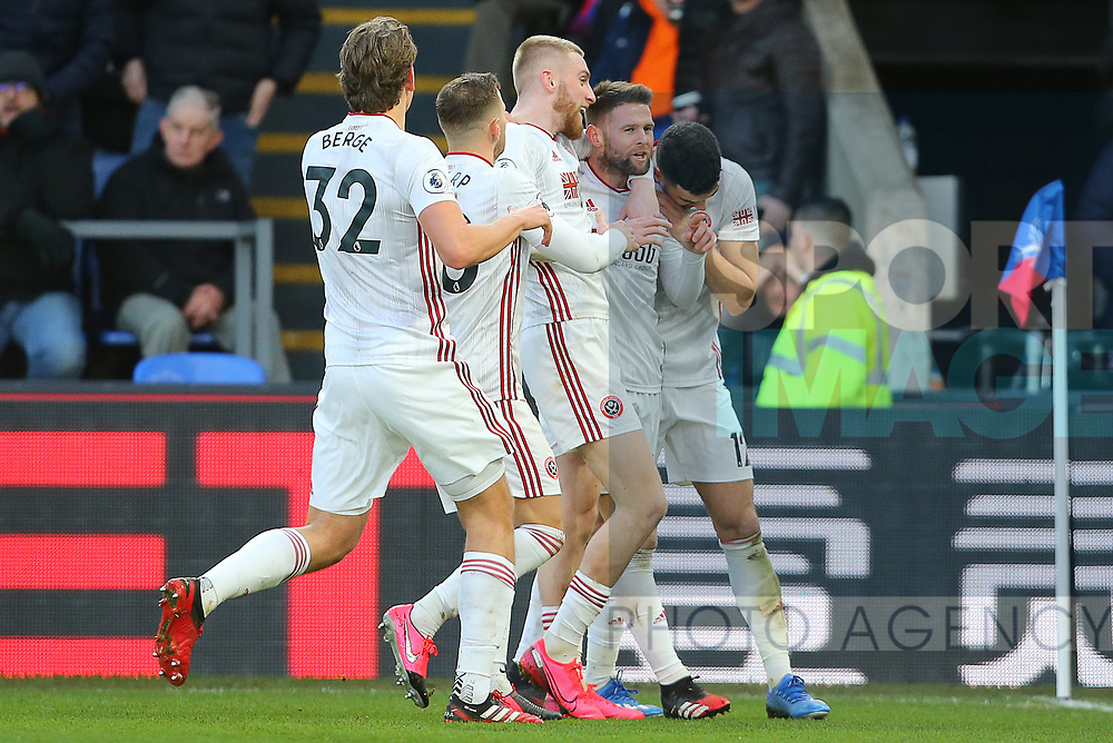 Sheffield United's Oliver Norwood celebrates after his corner kick is put into the net by Crystal Palace's goalkeeper Vicente Guaita for an own goal to make it 1-0 during the Premier League match at Selhurst Park, London. Picture date: 1st February 2020. Picture credit should read: Paul Terry/Sportimage
