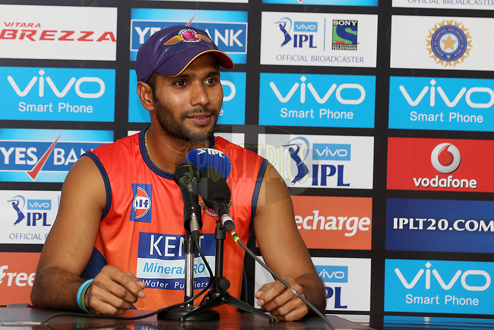 Raising Pune Supergiants player Ashok Dinda addressing media after the match 22 of the Vivo IPL 2016 (Indian Premier League ) between the Sunrisers Hyderabad and the Rising Pune Supergiants held at the Rajiv Gandhi Intl. Cricket Stadium, Hyderabad on the 26th April 2016<br /> <br /> Photo by Faheem Hussain / IPL/ SPORTZPICS