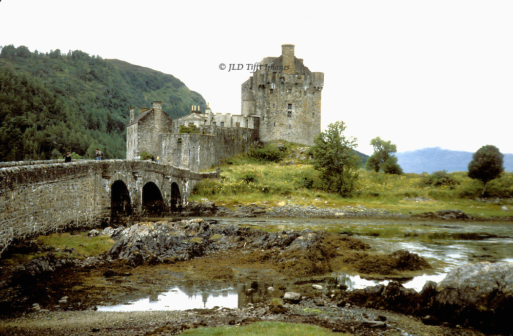 Scenic view of Eilean Donan castle, Scotland.  Includes bridge across to the island.