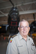 July 30, 2014. Hamilton, Ontario, Canada. The Canadian Warplane Heritage Museum will be flying their prized Avro Lancaster to England to join the only other airworthy Lancaster in the world, owned and operated by the Royal Air Force's renowned Battle of Britain Memorial Flight.<br /> Pictured is flight crew member Don Schofield.<br /> Photo Copyright John Chapple / www.JohnChapple.com