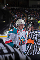 KELOWNA, CANADA - MARCH 24: Lucas Johansen #7 of the Kelowna Rockets speaks to referee Jeff Ingram against the Kamloops Blazers on March 24, 2017 at Prospera Place in Kelowna, British Columbia, Canada.  (Photo by Marissa Baecker/Shoot the Breeze)  *** Local Caption ***