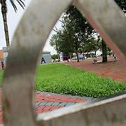 Making use of the photographic composition rule of using frames to frame an image within another frame, the letter A in the outside for MOCA (Museum of Contemporary Art) in North Miami, Florida, is  viewed through a bicycle stand. (Dafne Parra)