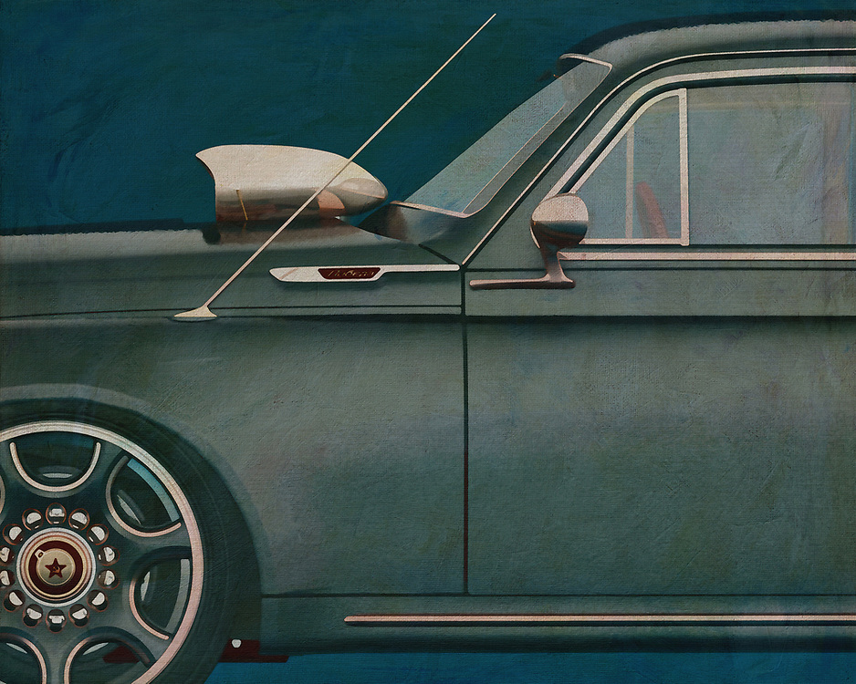 Jan Keteleer combines brilliant colours and presents a supernatural detail in this painting of a detail from the legendary GAZ M20V Black Beauty 1946.  This is a piece that speaks to those who really love cars. –<br />