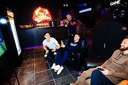 Callum O'Dowda and Josh Brownhill in action as Bristol City players visit the Belong by GAME gaming arena to play the new FIFA 18 - Rogan/JMP - 27/09/2017 - Merchant Street - Bristol, England.