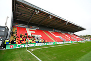 General view inside St James Park stadium of the new Stagecoach Adam Stansfield stand with Carabao Energy Drink advetising on the electonic boards before the EFL Sky Bet League 2 match between Exeter City and Grimsby Town FC at St James' Park, Exeter, England on 29 December 2018.