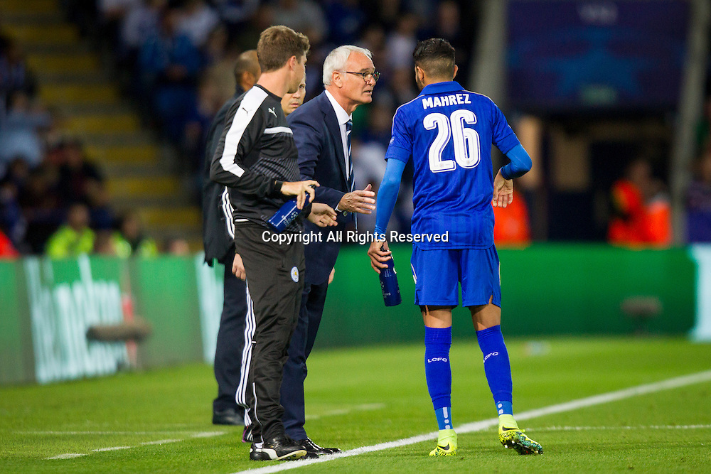 27.09.2016. King Power Stadium, Leicester, England. UEFA Champions League Football. Leicester City versus FC Porto. Riyad Mahrez receives instructions from Leicester City Manager Claudio Ranieri.