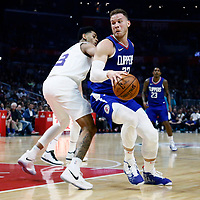 31 December 2017: LA Clippers forward Blake Griffin (32) drives past Charlotte Hornets guard Jeremy Lamb (3) during the LA Clippers 106-98 victory over the Charlotte Hornets, at the Staples Center, Los Angeles, California, USA.