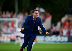 NEWPORT, WALES - Friday, August 31, 2018: England's manager Phil Neville runs on to the pitch to celebrate a goal but it was disallowed during the FIFA Women's World Cup 2019 Qualifying Round Group 1 match between Wales and England at Rodney Parade. (Pic by David Rawcliffe/Propaganda)