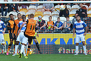 Sam Clucas  shoots towards the goal but goes over the bar during the Sky Bet Championship match between Hull City and Queens Park Rangers at the KC Stadium, Kingston upon Hull, England on 19 September 2015. Photo by Ian Lyall.