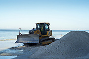 Redington Beach, Pinellas County, Florida, USA., Friday, 19th October, 2018, Beach Replenishment, Distributing the new, sand onto the beach, foreshore,